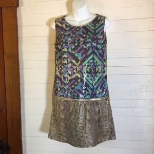Custo Snake Skin Print Sequin Zipper Dress